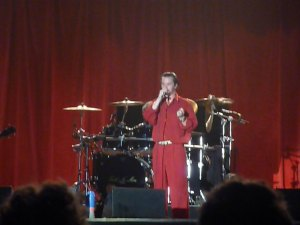 Mike Patton of Faith No More resplendent in red leisure suit